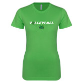 Next Level Ladies SoftStyle Junior Fitted Kelly Green Tee-Volleyball Ball Design