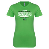 Next Level Ladies SoftStyle Junior Fitted Kelly Green Tee-2018 Mens Basketball Champions - Brush