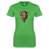 Next Level Ladies SoftStyle Junior Fitted Kelly Green Tee-Mascot Head