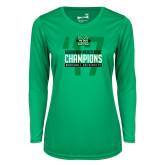 Ladies Syntrel Performance Kelly Green Longsleeve Shirt-Gildan New Mexico Bowl