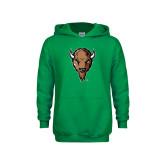 Youth Kelly Green Fleece Hoodie-Mascot Head