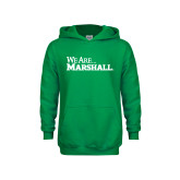 Youth Kelly Green Fleece Hood-We Are Marshall