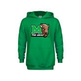 Youth Kelly Green Fleece Hoodie-M The Herd w Head
