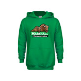 Youth Kelly Green Fleece Hoodie-Thundering Herd in Front of Herd