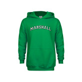 Youth Kelly Green Fleece Hoodie-Arched Marshall
