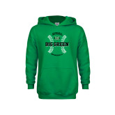 Youth Kelly Green Fleece Hoodie-Baseball Ball Design