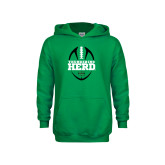 Youth Kelly Green Fleece Hood-Football Vertical Design