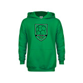 Youth Kelly Green Fleece Hood-Soccer Shield Design