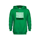 Youth Kelly Green Fleece Hoodie-Tennis Stacked Design