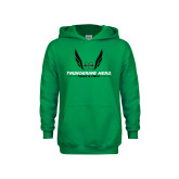 Youth Kelly Green Fleece Hoodie-Track and Field Wings Design