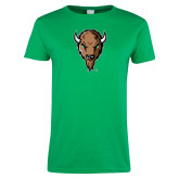 Ladies Kelly Green T Shirt-Mascot Head