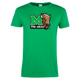 Ladies Kelly Green T Shirt-M The Herd w Head