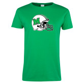 Ladies Kelly Green T Shirt-Marshall Football Helmet