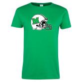 Ladies Kelly Green T Shirt-Marshall Football Helmet