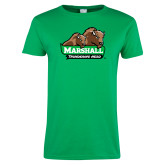 Ladies Kelly Green T Shirt-Thundering Herd in Front of Herd