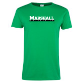 Ladies Kelly Green T Shirt-Marshall University