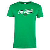 Ladies Kelly Green T Shirt-The Herd Fancy Lines