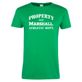 Ladies Kelly Green T Shirt-Property 0f Marshall