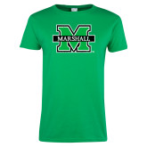 Ladies Kelly Green T Shirt-M Marshall Distressed