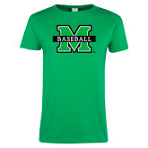 Ladies Kelly Green T Shirt-Baseball