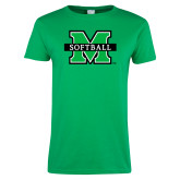 Ladies Kelly Green T Shirt-Softball