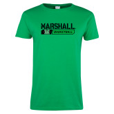 Ladies Kelly Green T Shirt-Basketball Bar Design