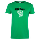Ladies Kelly Green T Shirt-Basketball Net Design
