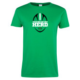 Ladies Kelly Green T Shirt-Football Vertical Design