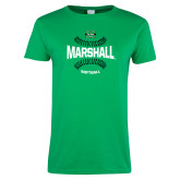 Ladies Kelly Green T Shirt-Softball Ball Design