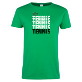 Ladies Kelly Green T Shirt-Tennis Stacked Design
