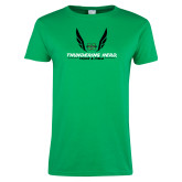 Ladies Kelly Green T Shirt-Track and Field Wings Design
