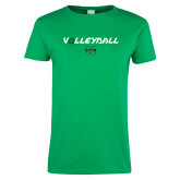 Ladies Kelly Green T Shirt-Volleyball Ball Design