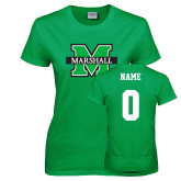Ladies Kelly Green T Shirt-M Marshall, Custom Tee w/ Name and #