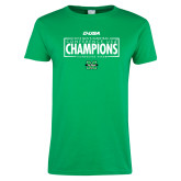 Ladies Kelly Green T Shirt-2018 Mens Basketball Champions - Box