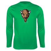 Performance Kelly Green Longsleeve Shirt-Mascot Head