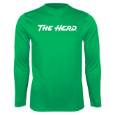 Performance Kelly Green Longsleeve Shirt-The Herd