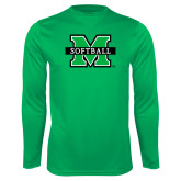 Performance Kelly Green Longsleeve Shirt-Softball