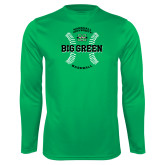 Performance Kelly Green Longsleeve Shirt-Baseball Ball Design