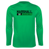 Performance Kelly Green Longsleeve Shirt-Basketball Bar Design