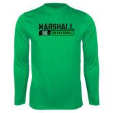 Syntrel Performance Kelly Green Longsleeve Shirt-Basketball Bar Design