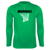 Performance Kelly Green Longsleeve Shirt-Basketball Net Design