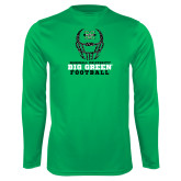 Performance Kelly Green Longsleeve Shirt-Football Helmet Design