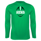 Performance Kelly Green Longsleeve Shirt-Football Vertical Design