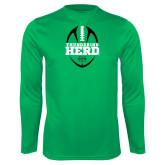 Syntrel Performance Kelly Green Longsleeve Shirt-Football Vertical Design