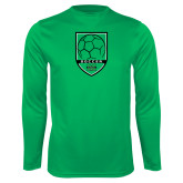 Performance Kelly Green Longsleeve Shirt-Soccer Shield Design