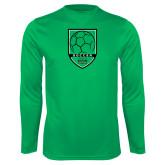 Syntrel Performance Kelly Green Longsleeve Shirt-Soccer Shield Design