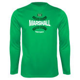 Performance Kelly Green Longsleeve Shirt-Softball Ball Design