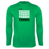 Performance Kelly Green Longsleeve Shirt-Tennis Stacked Design