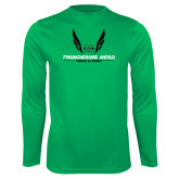 Performance Kelly Green Longsleeve Shirt-Track and Field Wings Design
