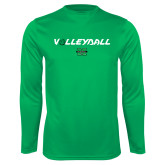 Performance Kelly Green Longsleeve Shirt-Volleyball Ball Design